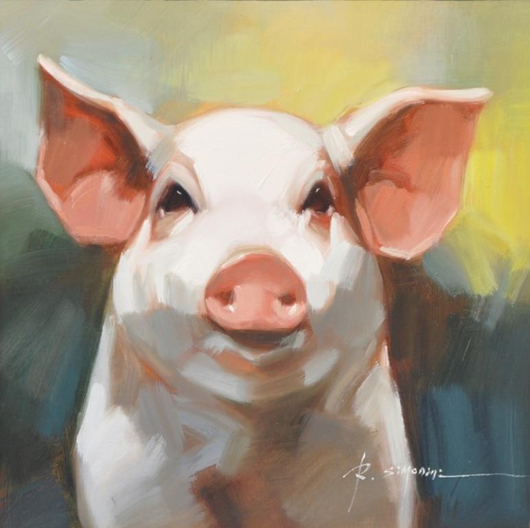 SIMONINI ARTIST - Pig Painting I by Simonini Artist