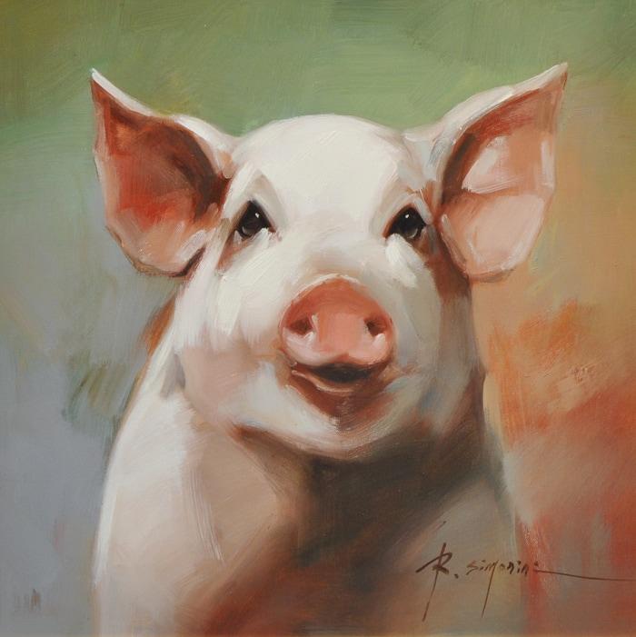 SIMONINI ARTIST - Pig Painting by Simonini Artist