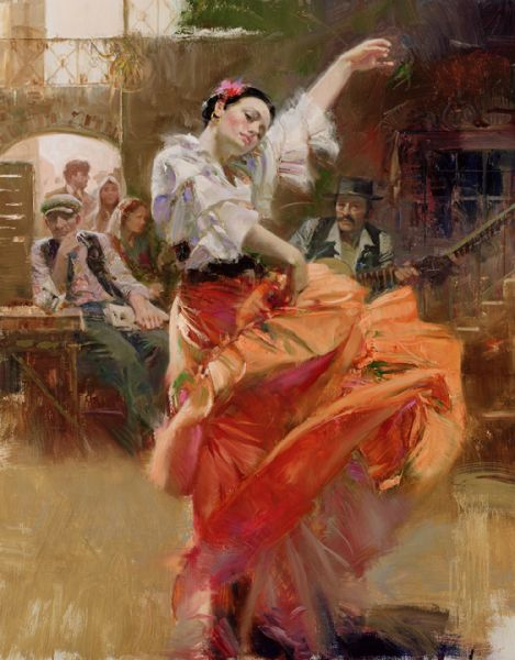 SOLD OUT Flamenco in Red by Artist Pino Daeni Artwork