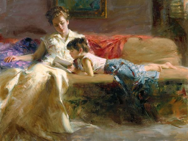 SOLD OUT - Late Night Reading by Artist Pino Daeni Artwork