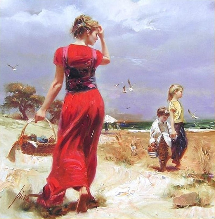 Seaside Gathering by Artist Pino Daeni