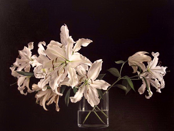 Tatyanna Klevenskiy Artwork - Lilies on Black 30 x 40