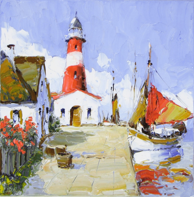 The Lighthouse - 24 x 24 - Erich Paulsen Artist - Original Painting - Art Eric Paulsen