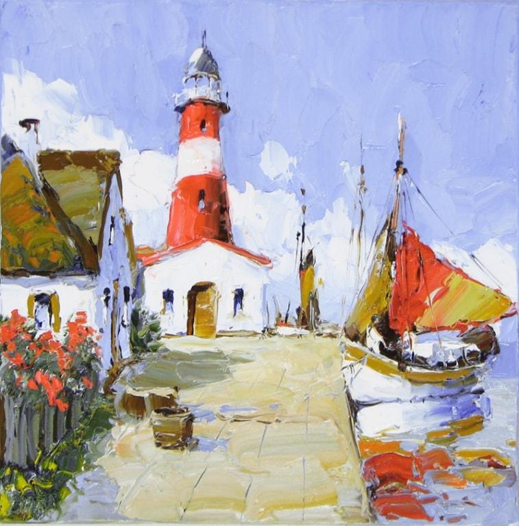 The Lighthouse - 24 x 24 - Erich Paulsen Artist - Original Painting - Art Eric Paulsen