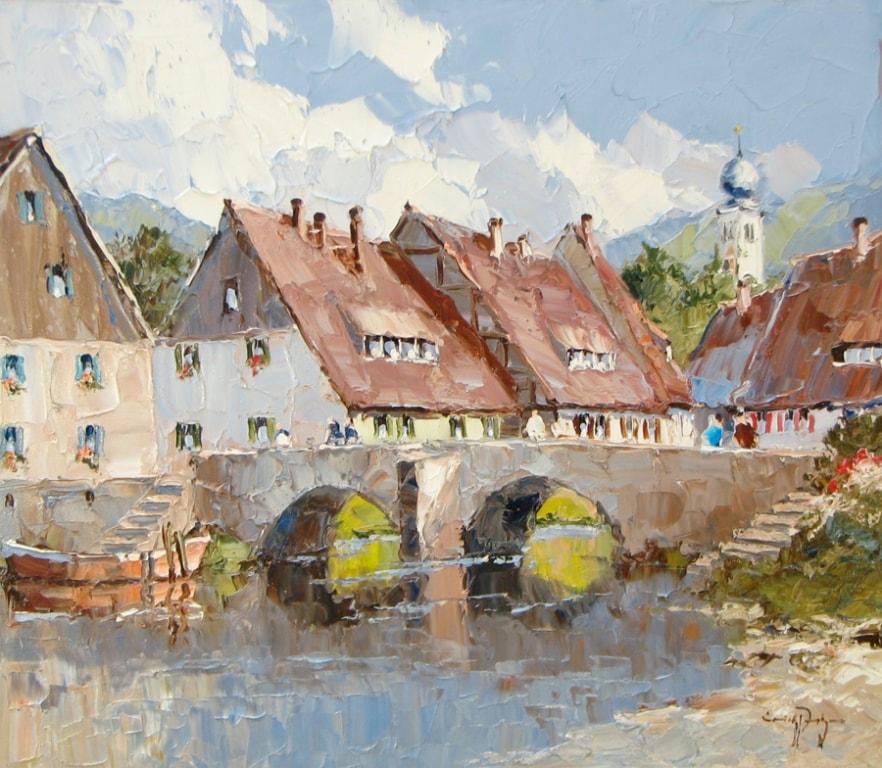 Town Bridge -27 x 31 - Erich Paulsen Artist - Original Painting - Art Eric Paulsen