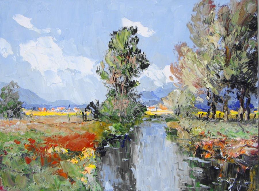 Trees with Distant Village - 23 x 31- Erich Paulsen Artist - Original Painting - Art Eric Paulsen