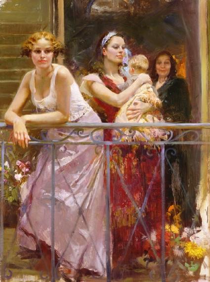 Wating at the Balcony by Artist Pino Daeni Artwork