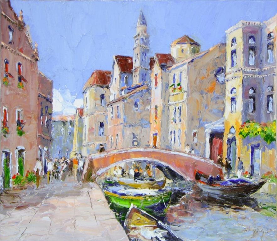 Weekday in Venice- 27 x 31 - Erich Paulsen Artist - Original Painting - Art Eric Paulsen
