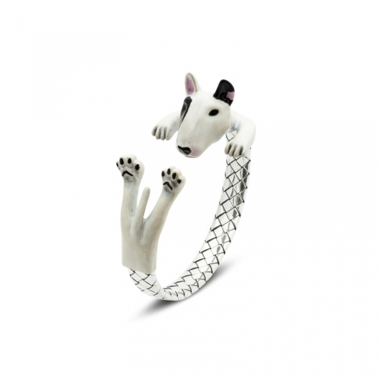 DOG-FEVER-ENAMELED-HUG-BRACELETS-bull-terrier-enamelled-silver-hug-bracelet - Copy