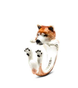 DOG-FEVER-ENAMELLED-HUG-RING-akita-inu-enameled-hug-ring