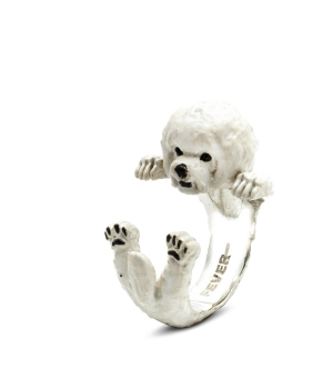 DOG-FEVER-ENAMELLED-HUG-RING-bichon-frise-enameled-hug-ring