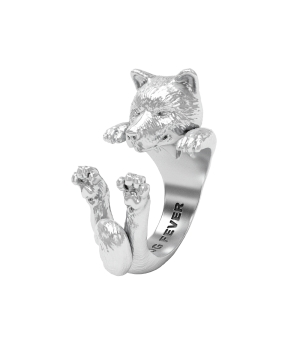 DOG-FEVER-HUG-RING-Akita-inu-silver-hug-ring