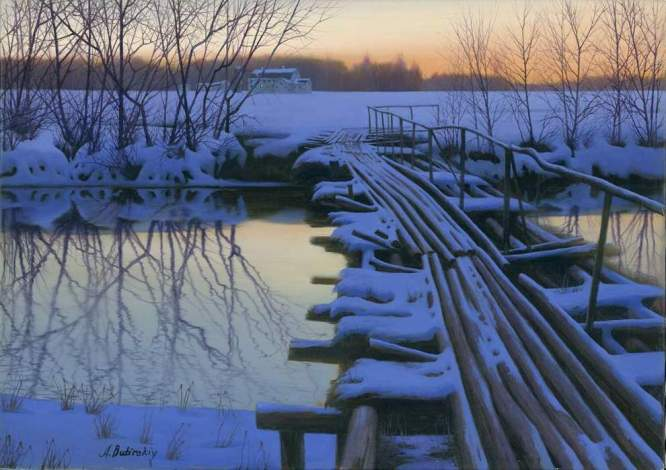 ALEXEI BUTIRSKIY ARTIST -Old Log Bridge 28 x 40