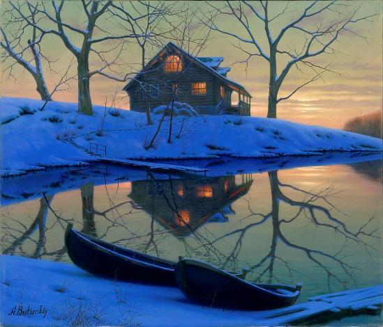 ALEXEI BUTIRSKIY ARTIST -On Golden Pond 35 x 40