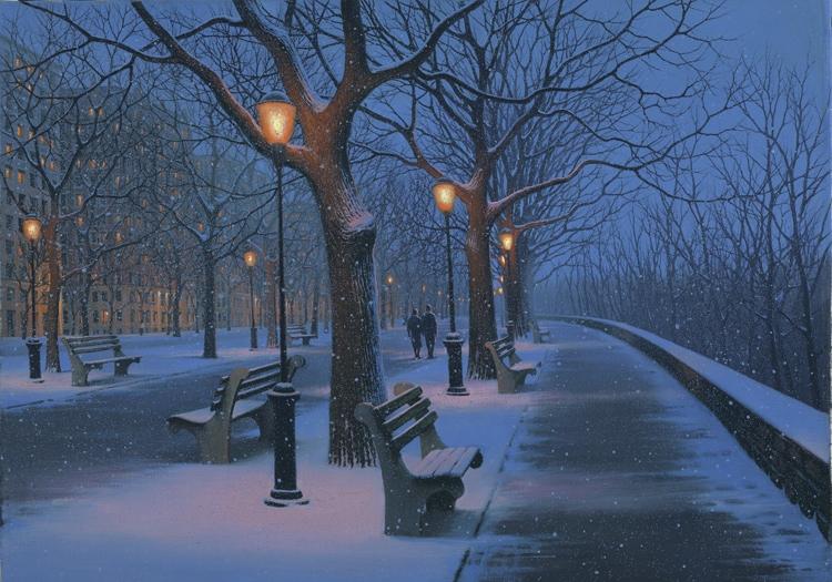 ALEXEI BUTIRSKIY ARTIST Winter Stroll 24 x 34