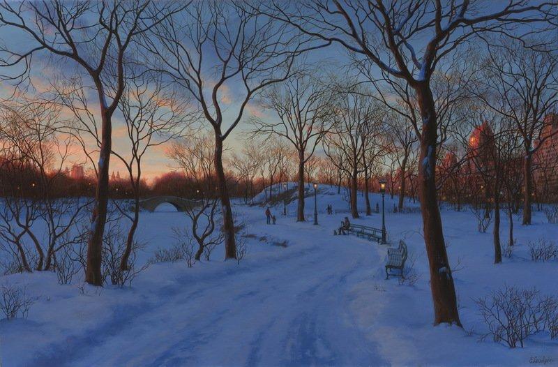 EVGENY LUSHPIN ARTIST - Central Park Lights 24 x 36