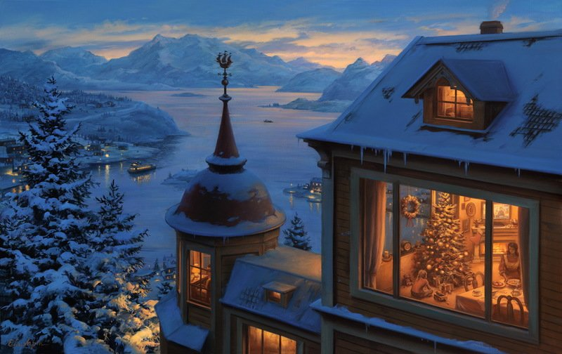 EVGENY LUSHPIN ARTIST - Coming Home for Christmas 20 x 32