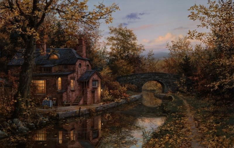 EVGENY LUSHPIN ARTIST - Fall Evening 24 x 40