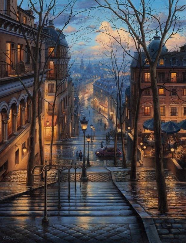 EVGENY LUSHPIN ARTIST - Montmartre Spring 34 x 26