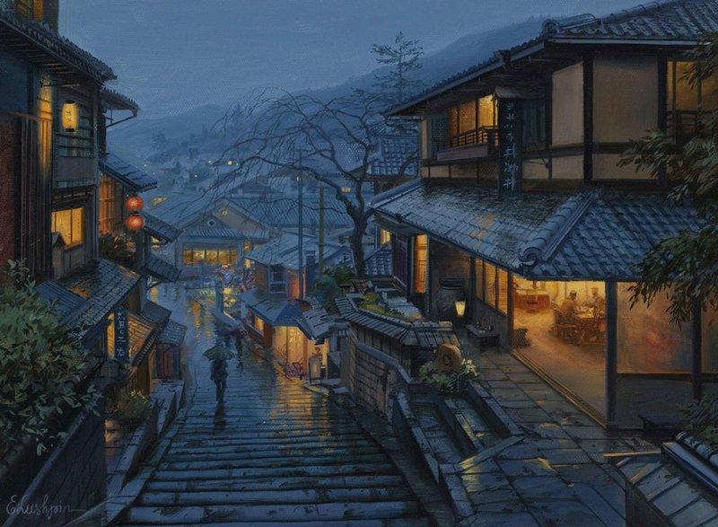 EVGENY LUSHPIN ARTIST - Old Kyoto 16 x 12
