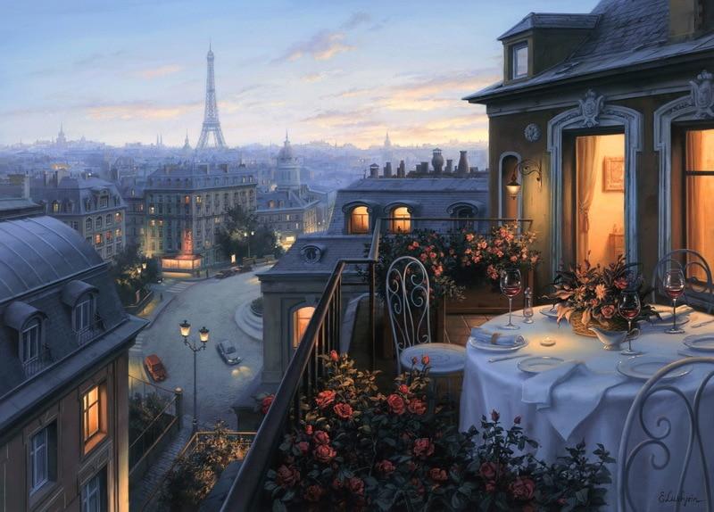 EVGENY LUSHPIN ARTIST - Paris Evening Deja Vu 26 x 36