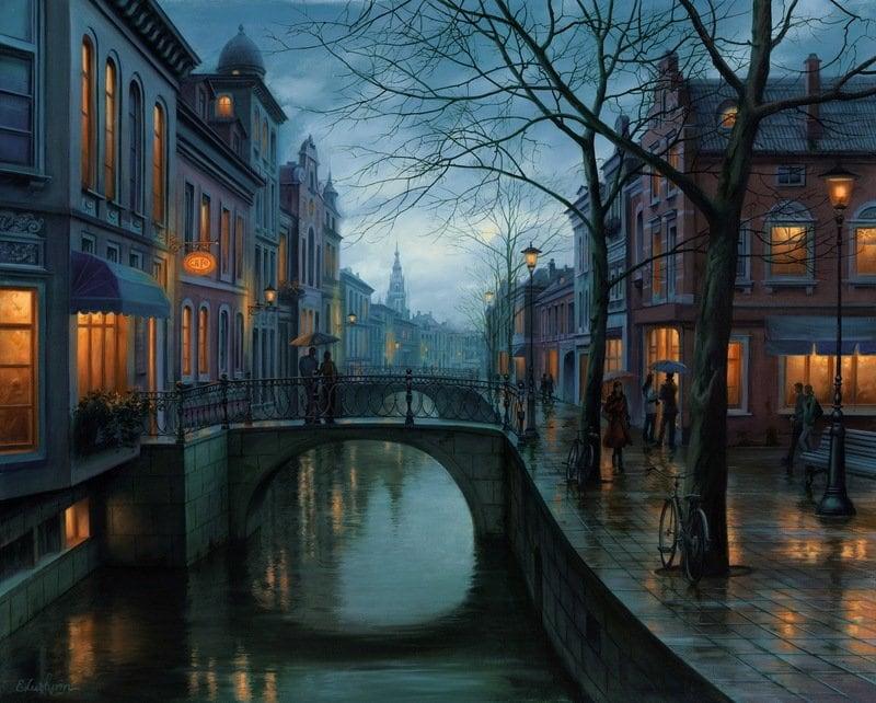 EVGENY LUSHPIN ARTIST - Rainy Morning 24 x 30