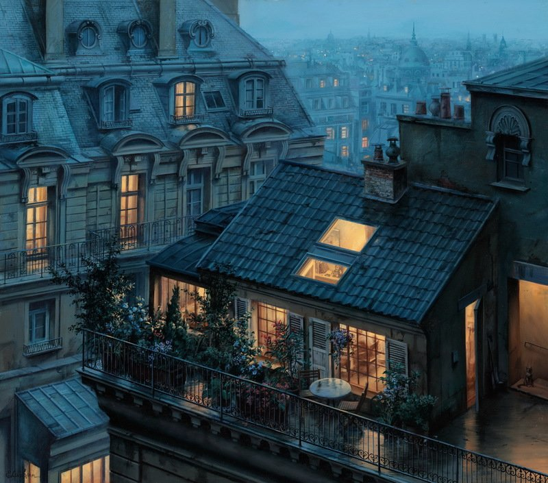 EVGENY LUSHPIN ARTIST - Rooftop Hideout 27 x 24