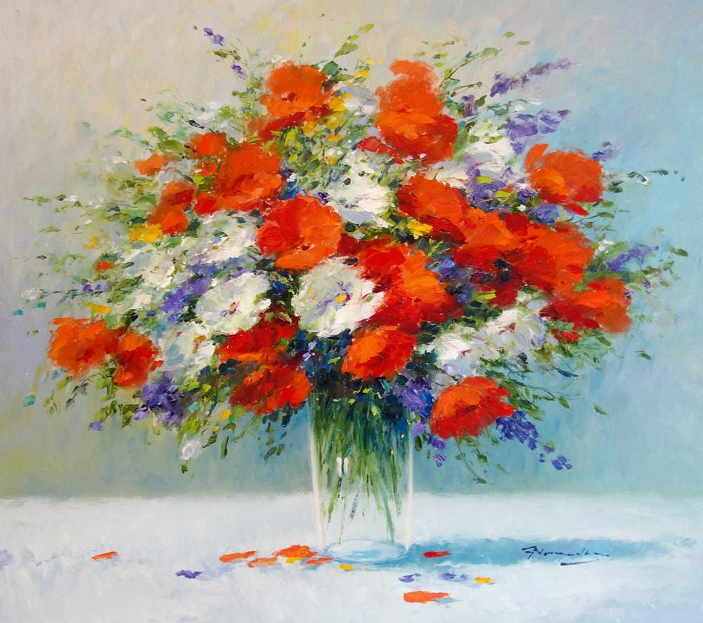 GERHARD NESVADBA - Poppies and Lavendar 31 5 x 35 5