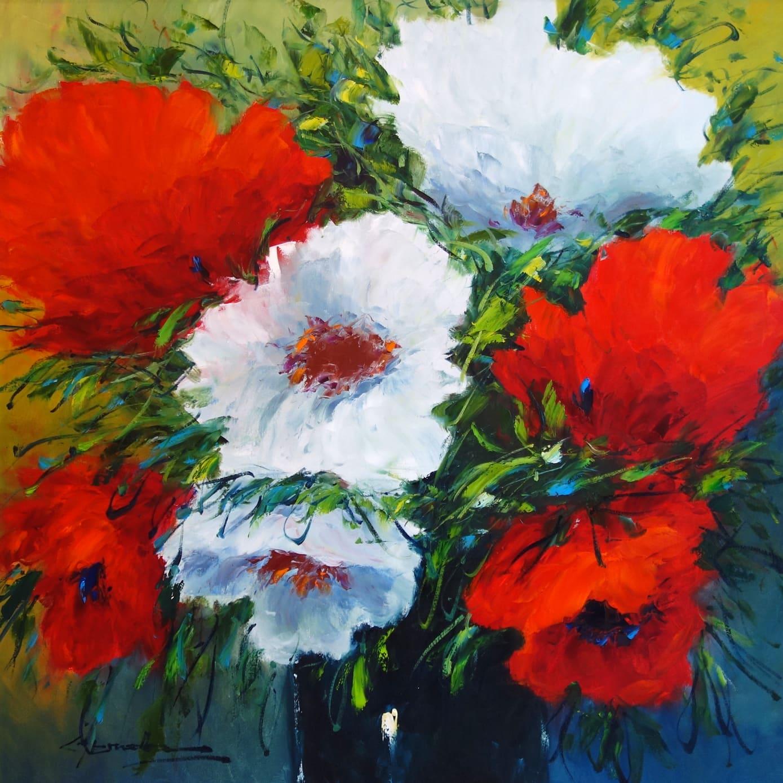 NESVADBA Red and White Poppies 35 x 35