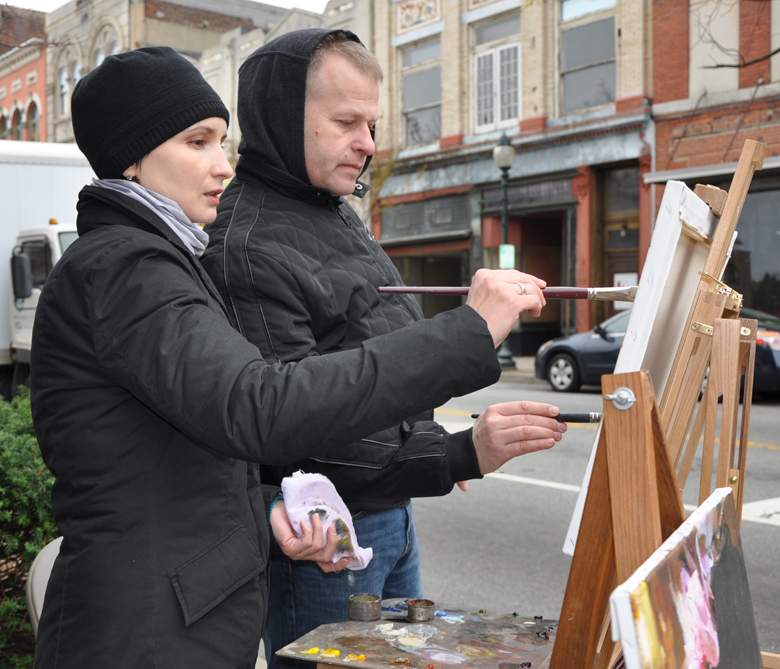 Michael and Inessa Painting at The Art Shop