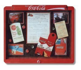 Shadowbox created from a Coca-Cola bottle case